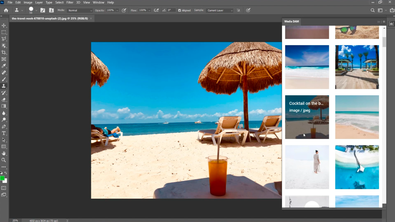 wedia content picker edit image in adobe suite