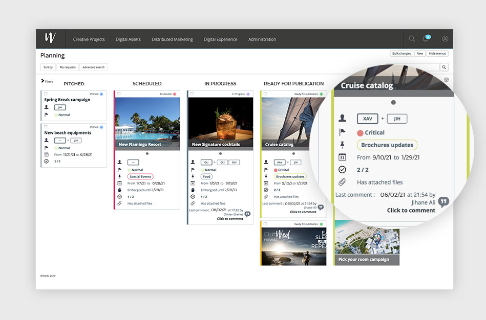 Wedia - Creative Project & Content Management: Plan and organize your marketing initiatives and creative projects